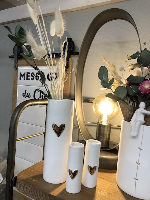 vase coeur dore porcelaine blanche